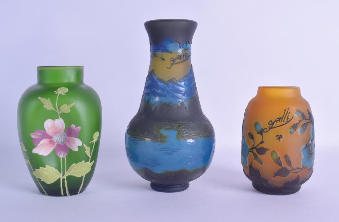A CAMEO GLASS VASE After Galle, together with another