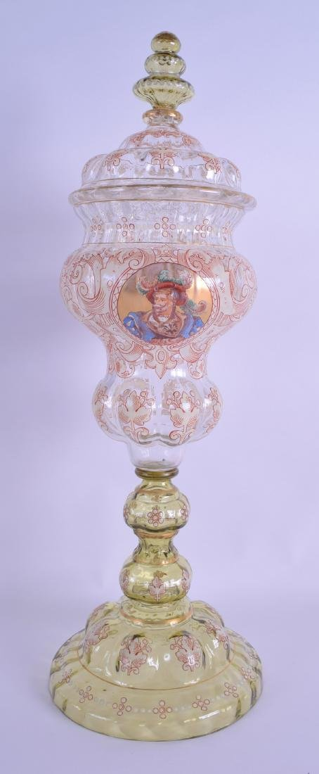 A GOOD LARGE LATE 19TH CENTURY BOHEMIAN GLASS VASE AND