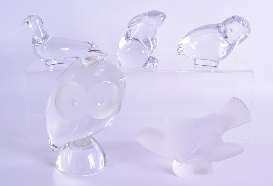 A LALIQUE FROSTED GLASS FIGURE OF A BIRD together with