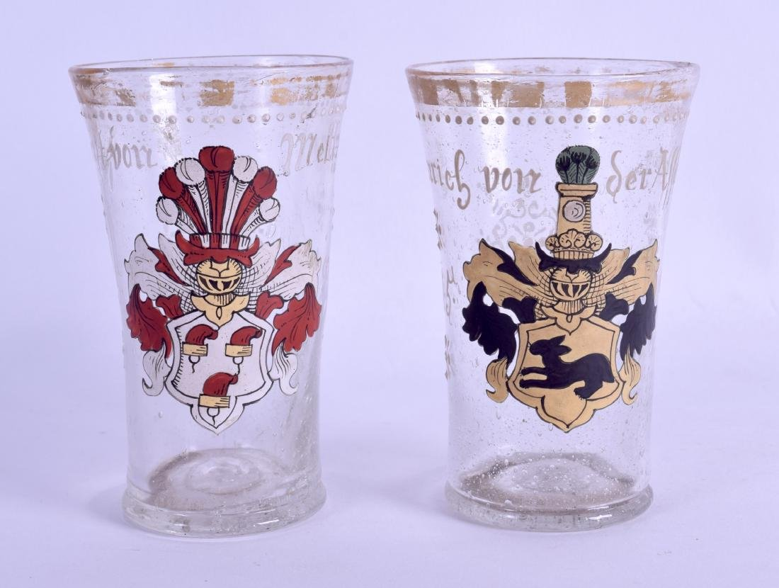 A PAIR OF 18TH CENTURY CONTINENTAL ENAMELLED GLASS