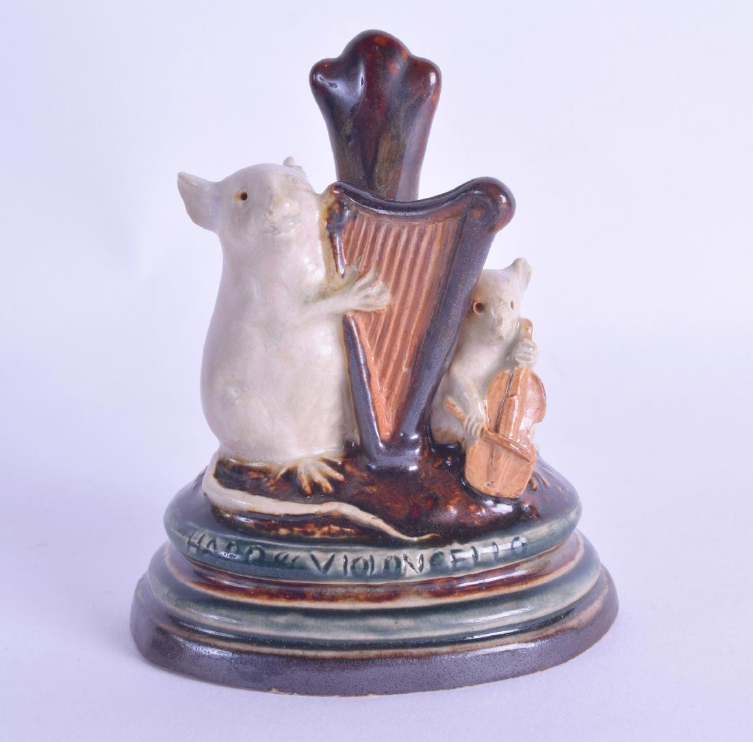 A RARE DOULTON LAMBETH STONEWARE MENU HOLDER 'VIOLIN