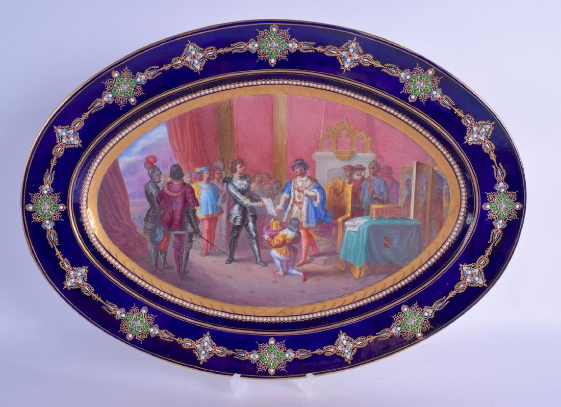 A VERY LARGE 19TH CENTURY SEVRES PORCELAIN OVAL DISH