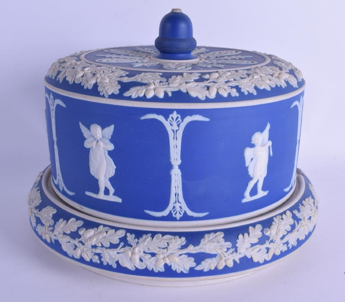 A 19TH CENTURY ENGLISH BLUE BASALT CHEESE DISH AND