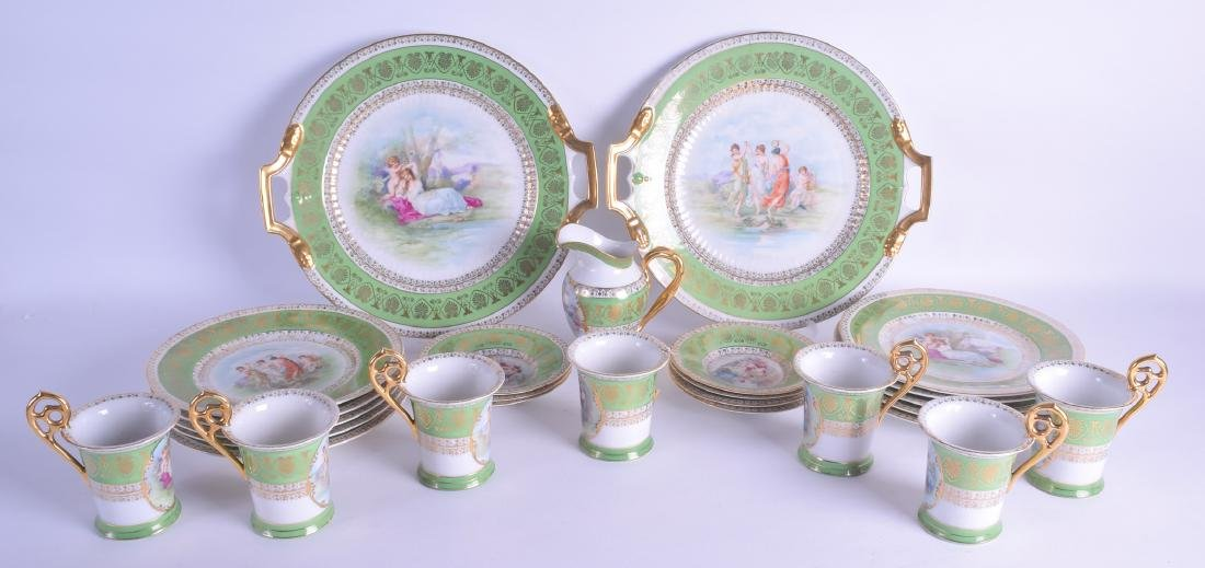 AN EARLY 20TH CENTURY VIENNA TYPE PORCELAIN TEA SERVICE