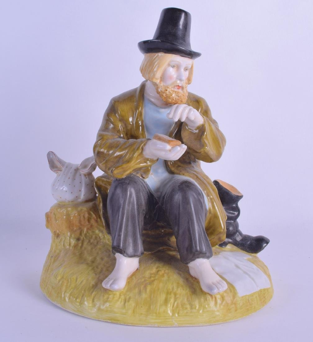 A RUSSIAN PORCELAIN FIGURE OF A TRAMP modelled upon a