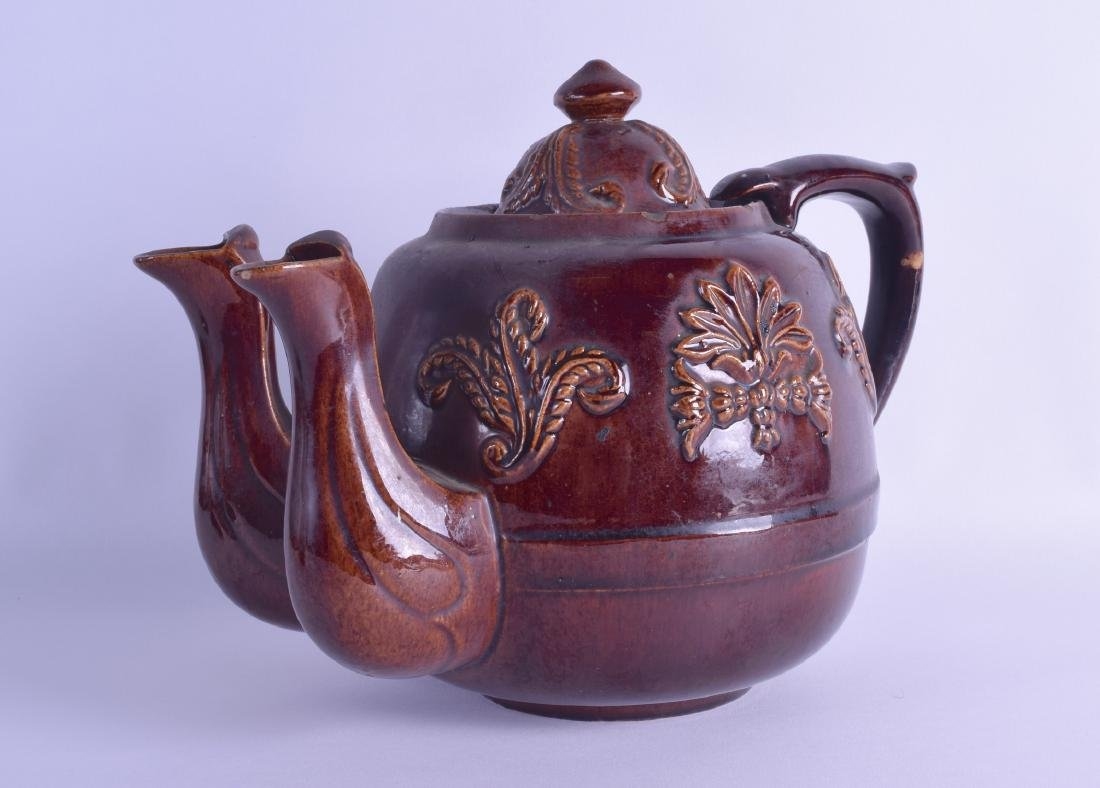 A RARE LARGE EARLY 19TH CENTURY ENGLISH POTTERY TEAPOT
