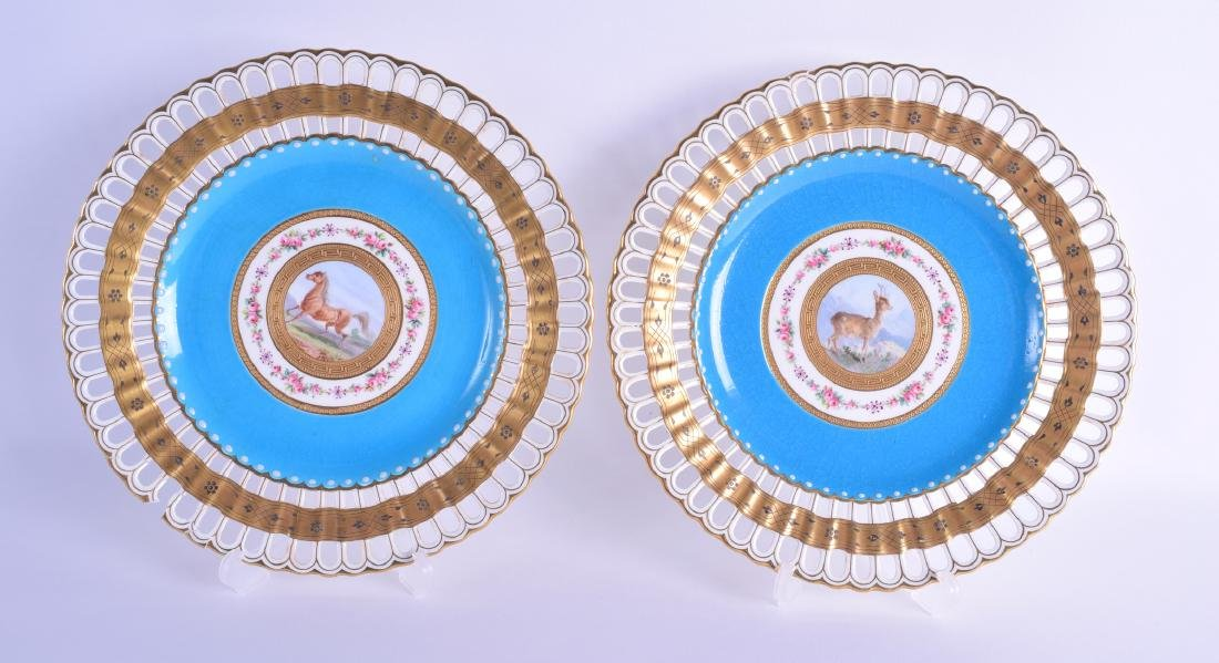 A PAIR OF MINTON RETICULATED CABINET PLATES painted