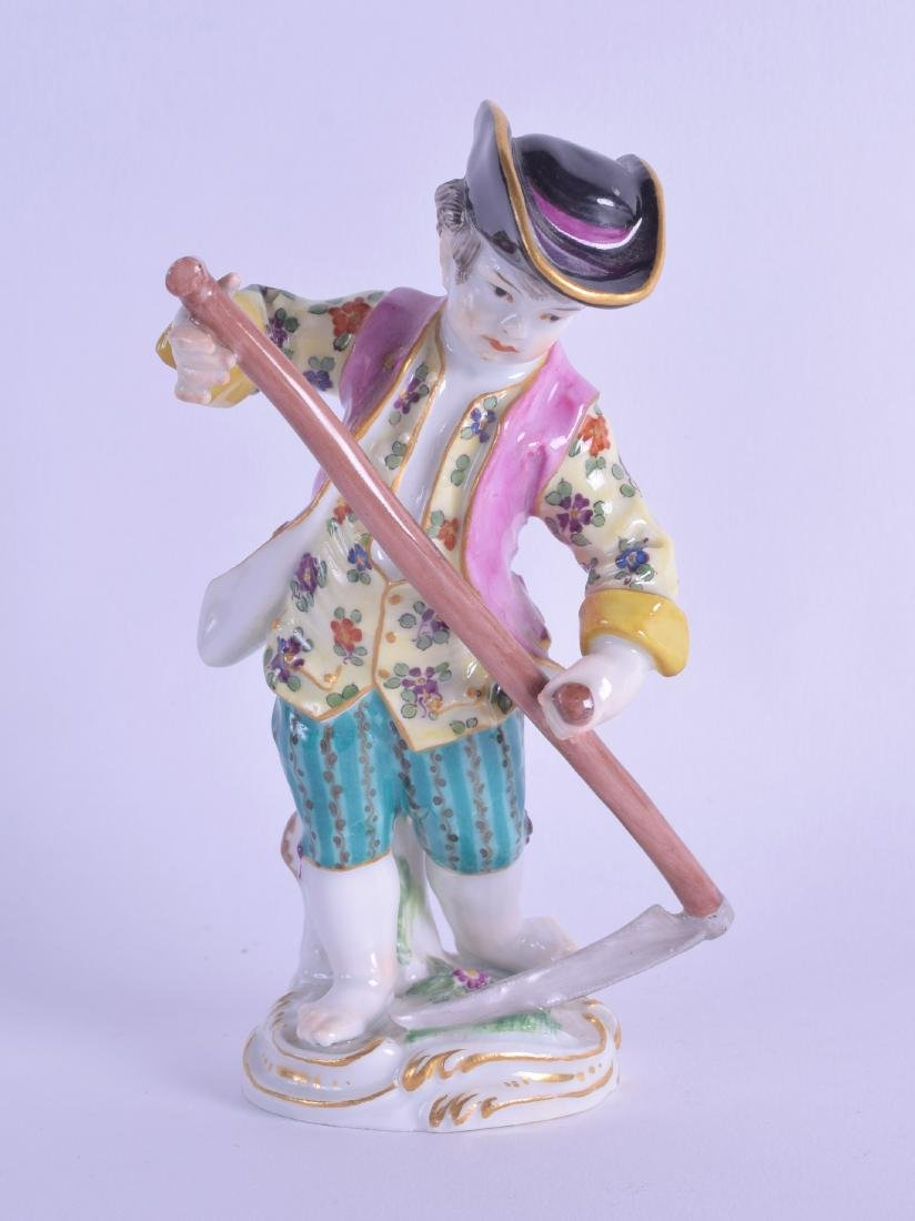 A MEISSEN PORCELAIN FIGURE OF A MALE modelled wearing a