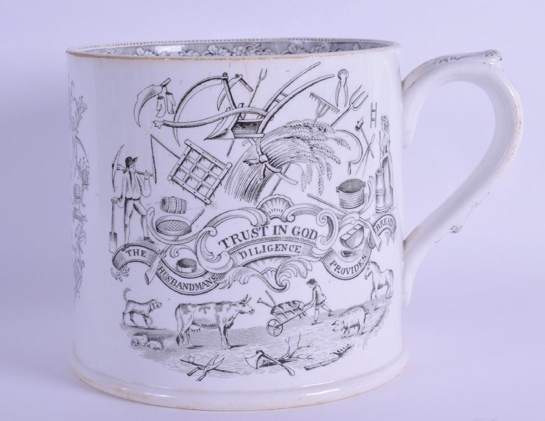 A LARGE 19TH CENTURY STAFFORDSHIRE MUG printed with