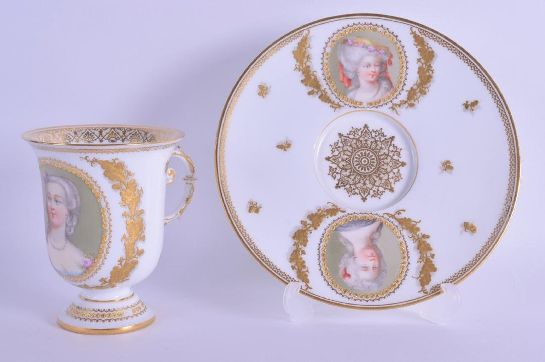 A FINE SEVRES PORCELAIN CABINET CUP AND SAUCER painted