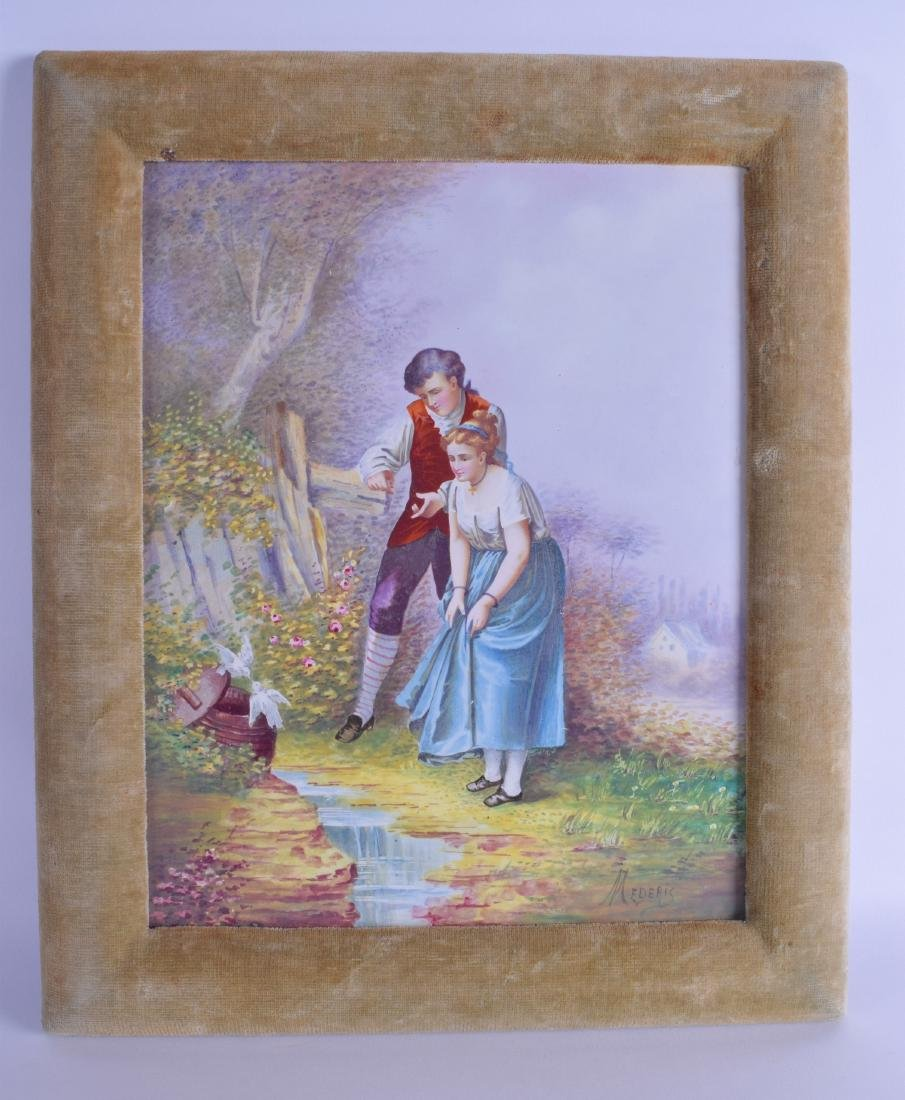 AN EARLY 20TH CENTURY CONTINENTAL PORCELAIN PLAQUE