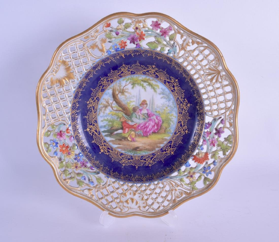 A 19TH CENTURY GERMAN PORCELAIN RETICULATED AUGUSTUS