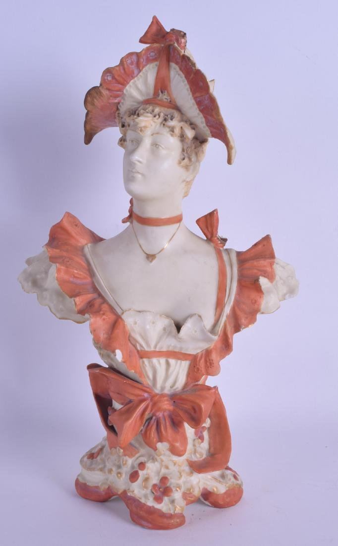 A LATE 19TH CENTURY CONTINENTAL PORCELAIN BUST modelled