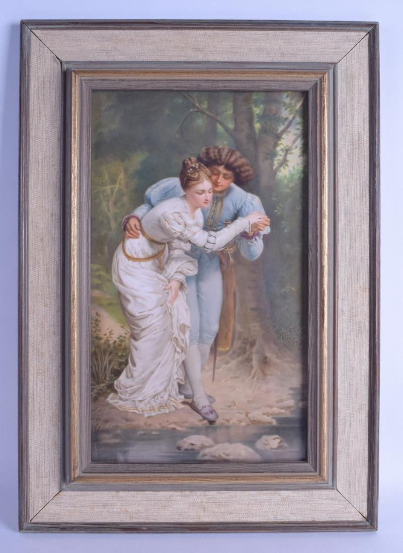 A LOVELY LARGE 19TH CENTURY GERMAN KPM PORCELAIN PLAQUE