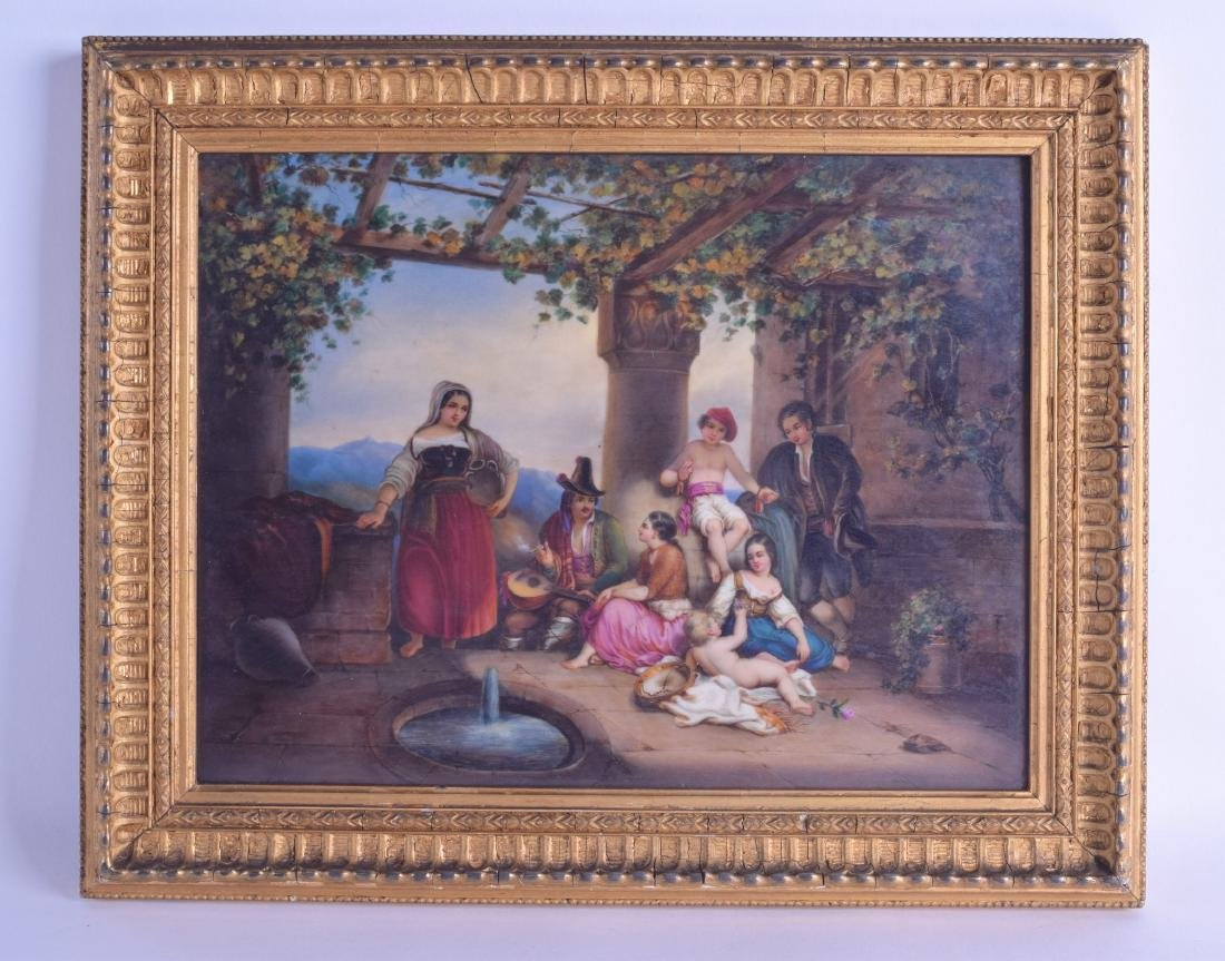 A GOOD 19TH CENTURY EUROPEAN PAINTED PORCELAIN PLAQUE