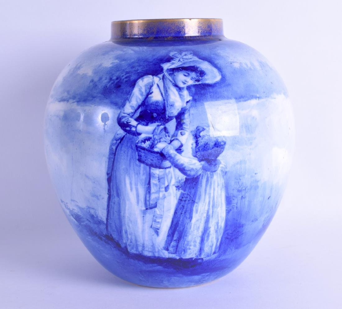 A ROYAL DOULTON FLAMBE BLUE AND WHITE PORCELAIN JAR