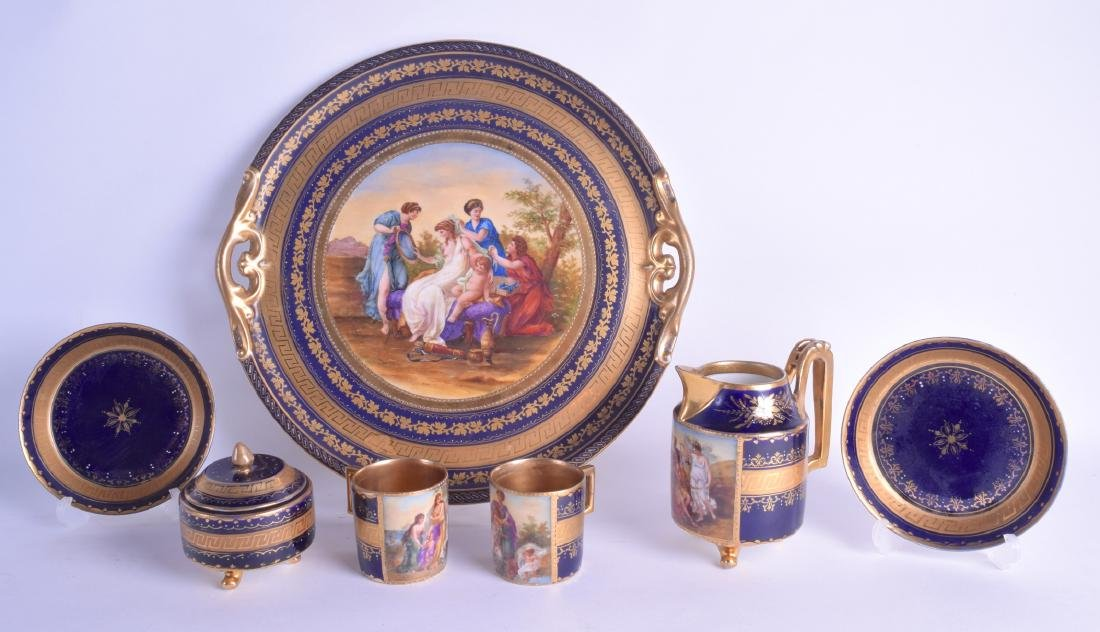 AN EARLY 20TH CENTURY VIENNA PORCELAIN TEA FOR TWO SET