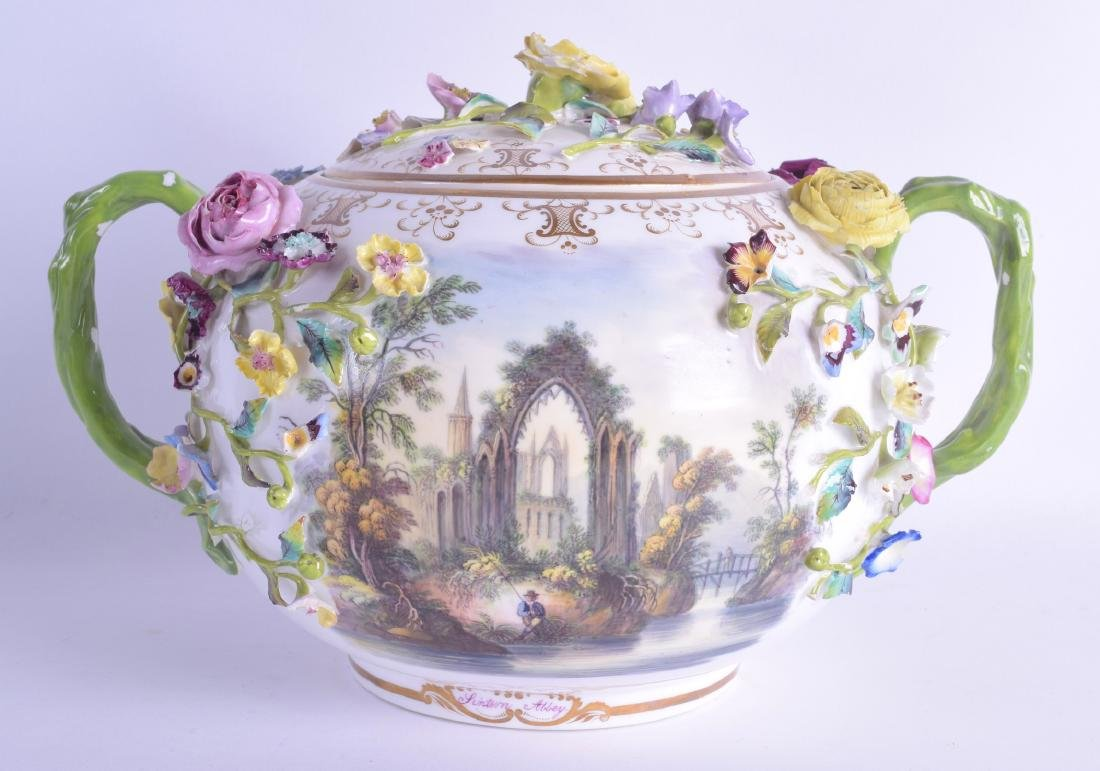 A LARGE MID 19TH CENTURY MINTON ENCRUSTED TWIN HANDLED