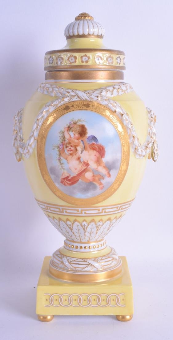 A FINE 19TH CENTURY KPM BERLIN YELLOW VASE AND COVER