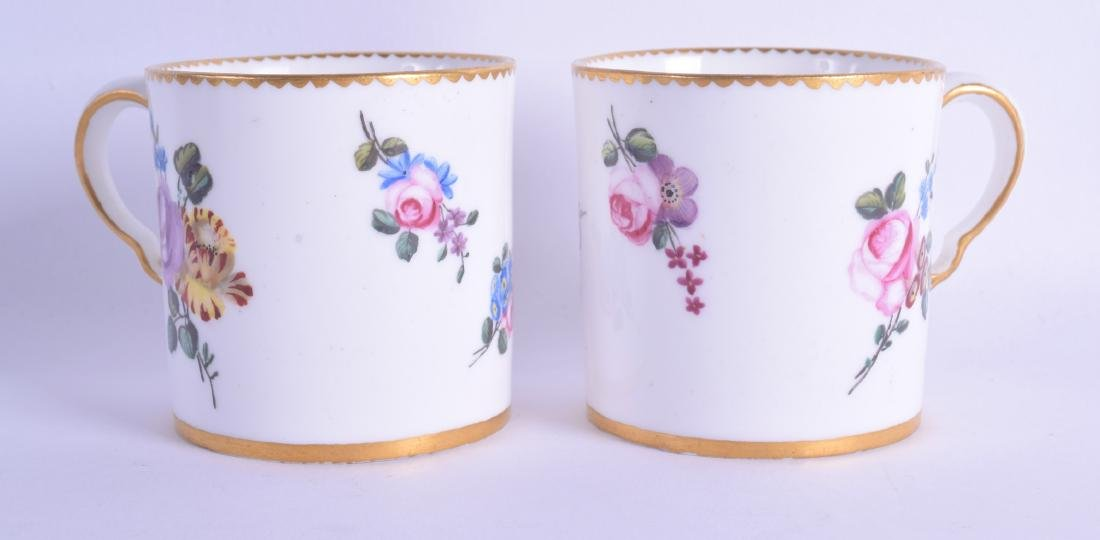A PAIR OF 18TH CENTURY FRENCH SEVRES PORCELAIN COFFEE