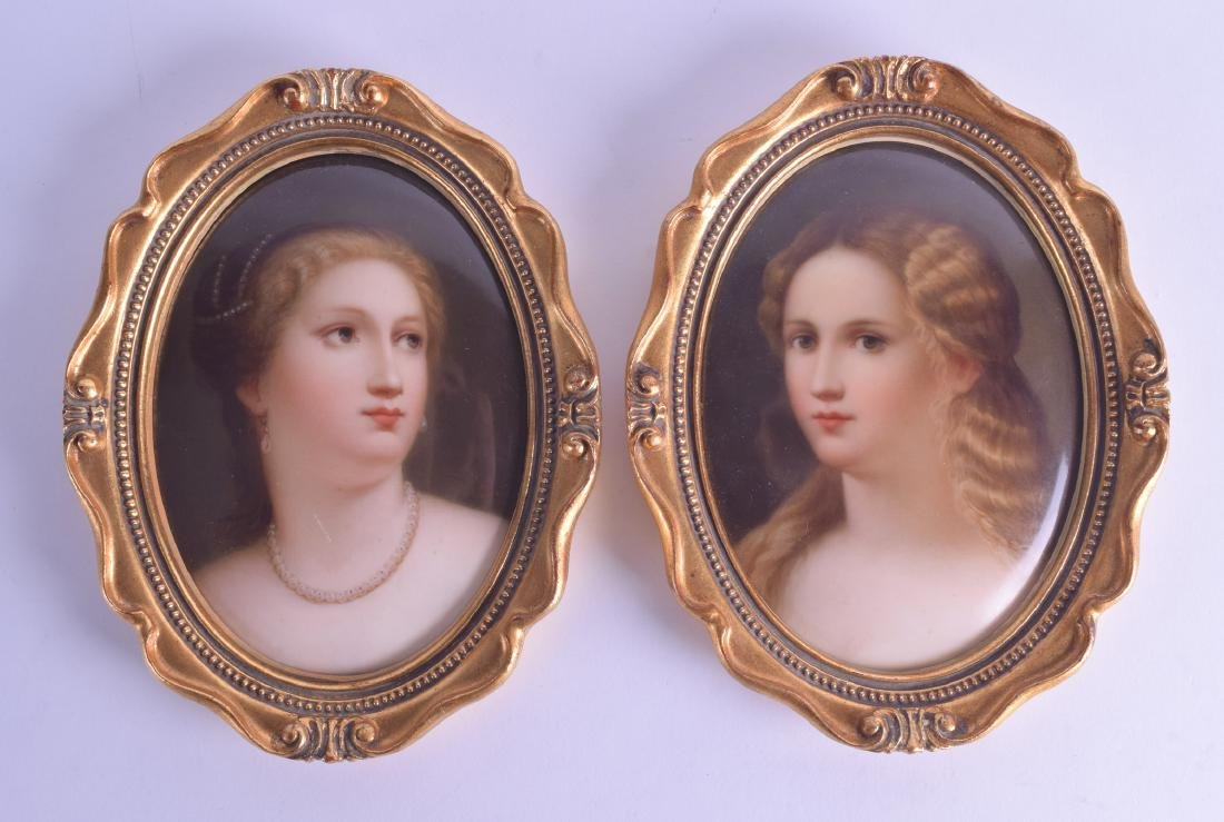A FRAMED PAIR OF LATE 19TH CENTURY GERMAN PORCELAIN