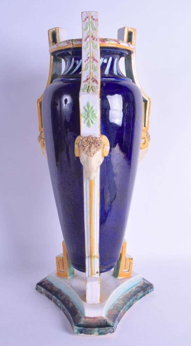 A LATE 19TH CENTURY ENGLISH MAJOLICA AMPHORA VASE