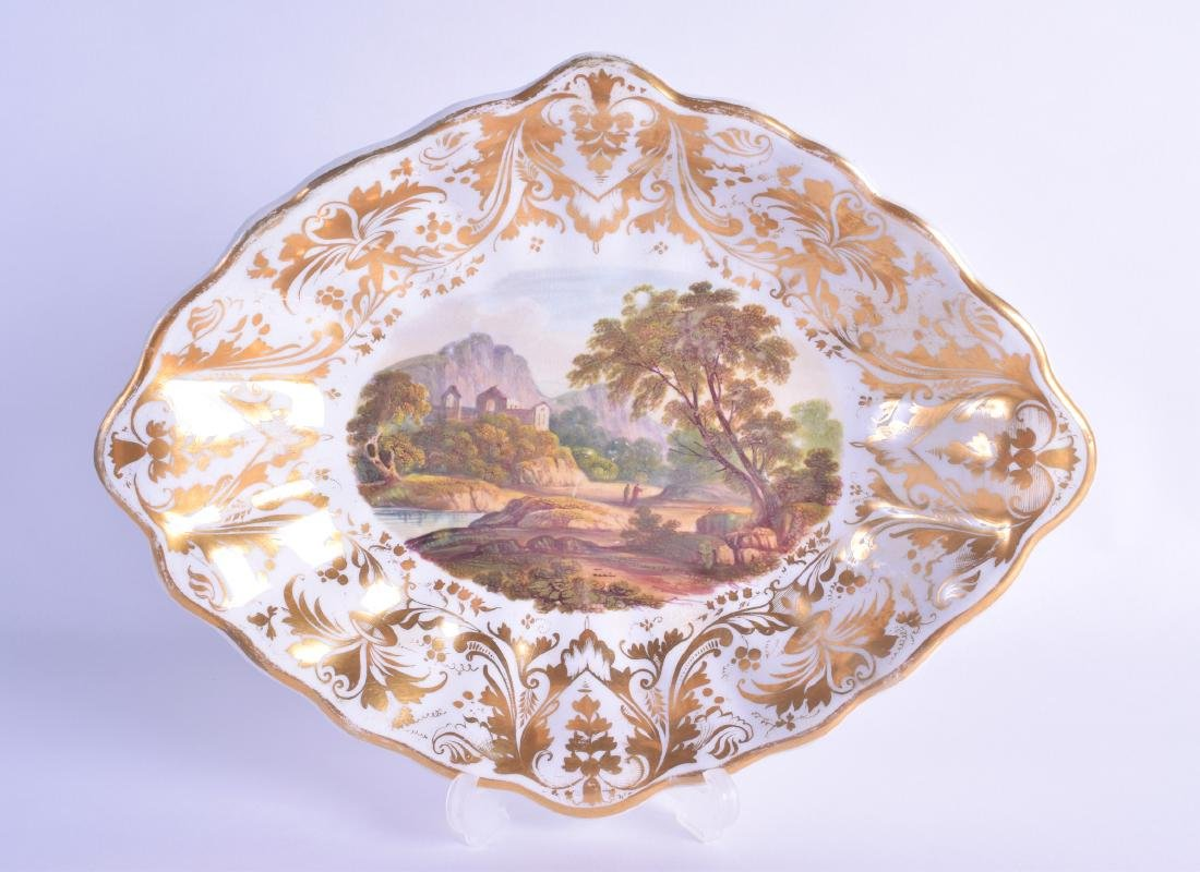 Early 19th c. Derby scalloped oval dish painted with
