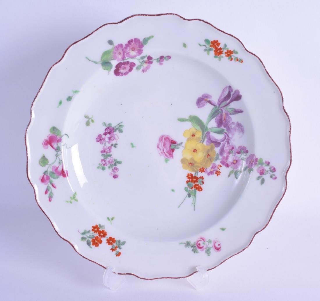 Mid 18th c. Chelsea plate painted with scattered