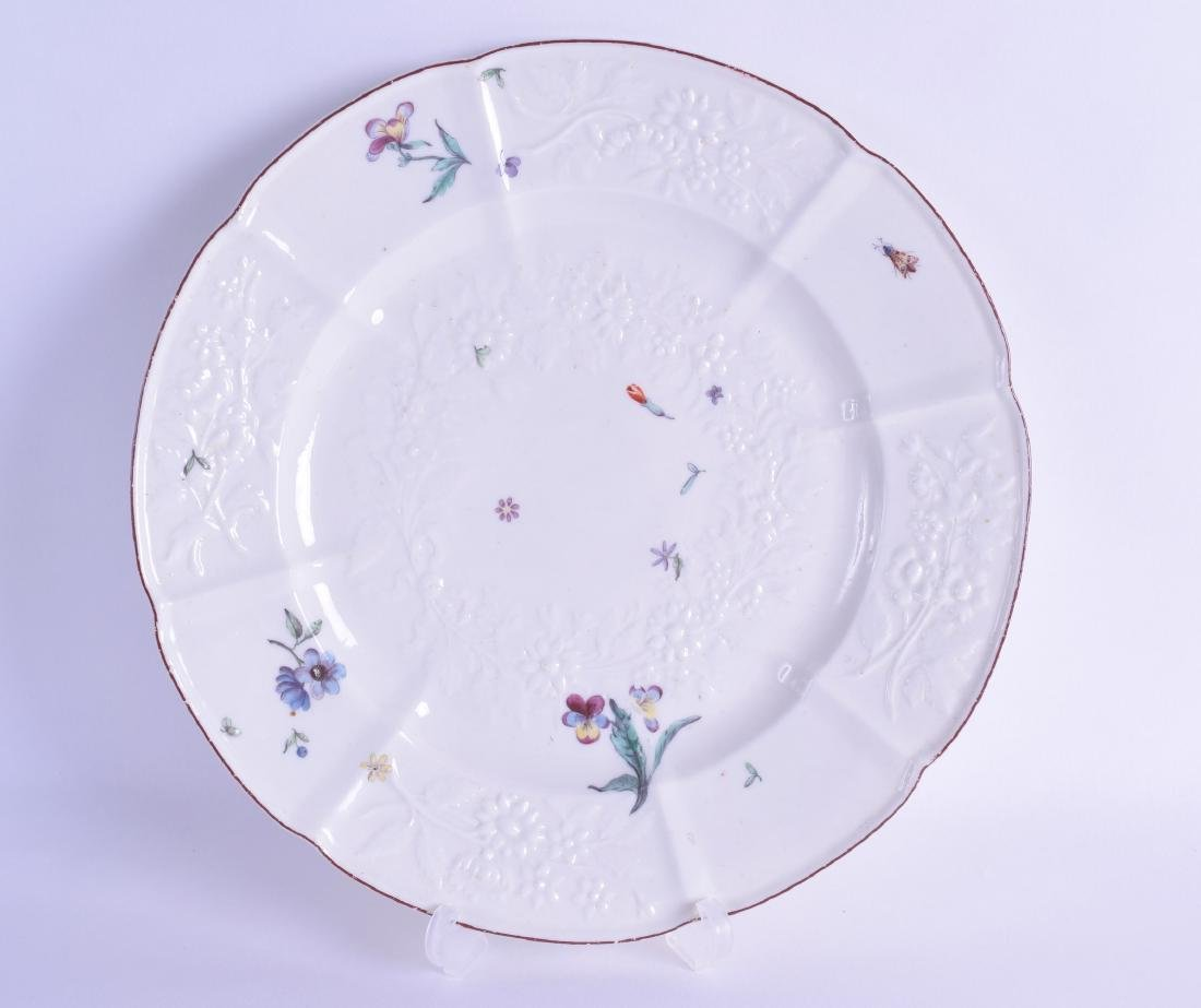 Mid 18th c. Chelsea moulded plate of Gotskowsky type