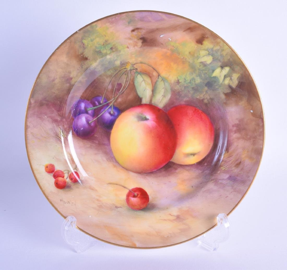 Royal Worcester plate painted with apples, cherries and