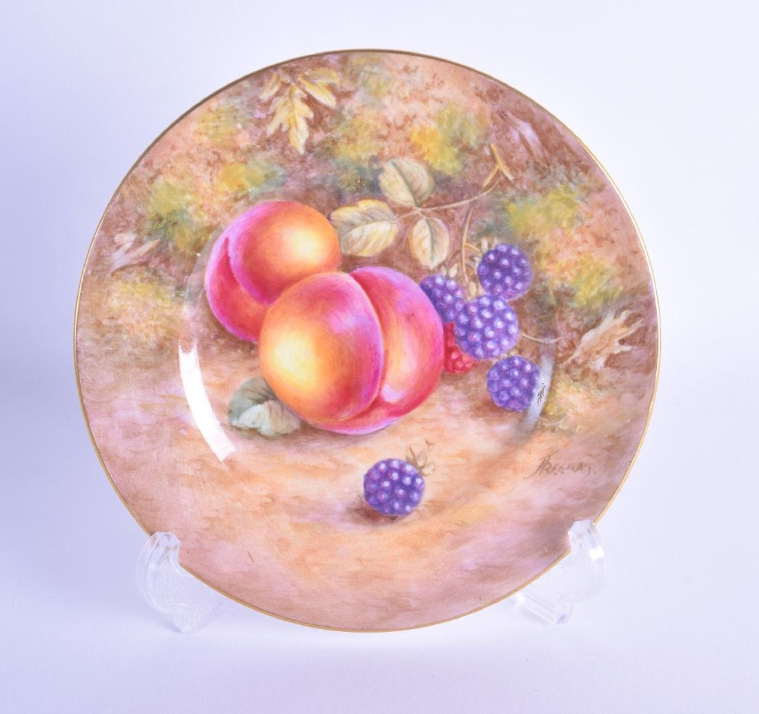 Royal Worcester plate painted with two peaches and