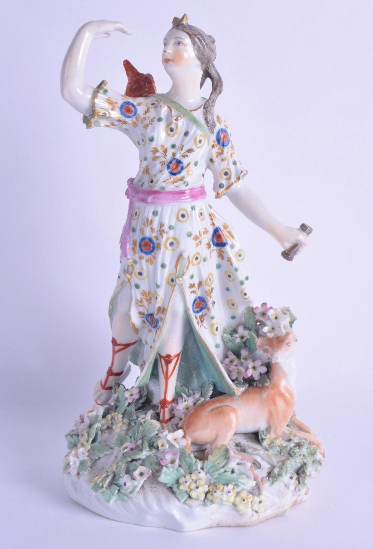 18th c. Derby figure of Athena standing beside a dog