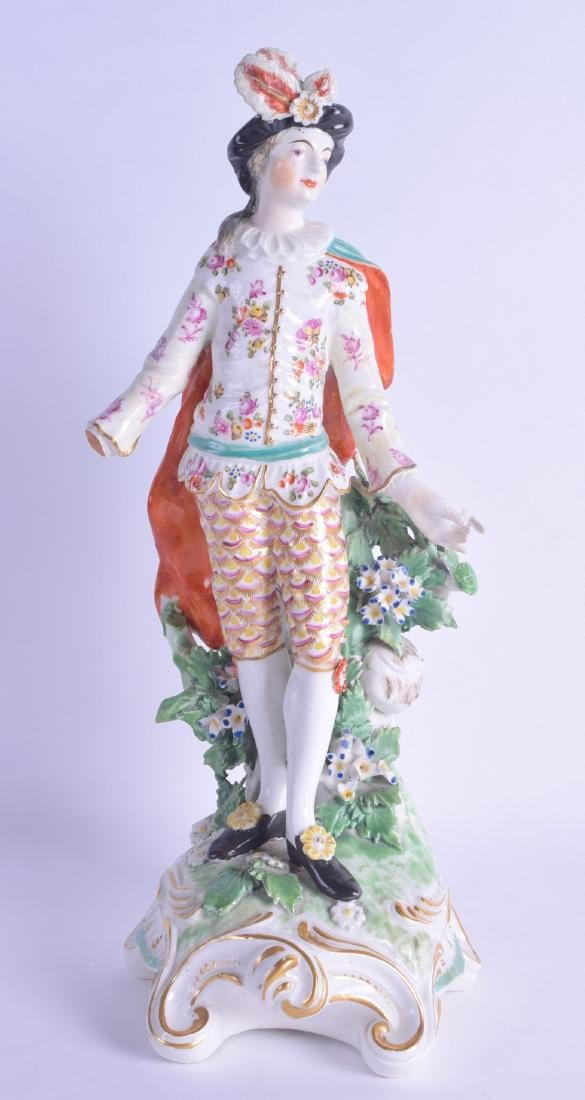 18th c. Derby figure of gentleman with feathers in his