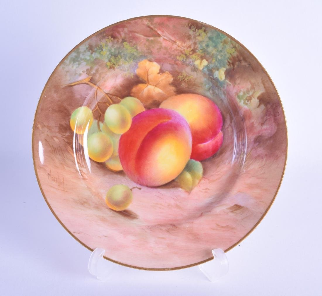 Royal Worcester side plate finely painted with fruit by