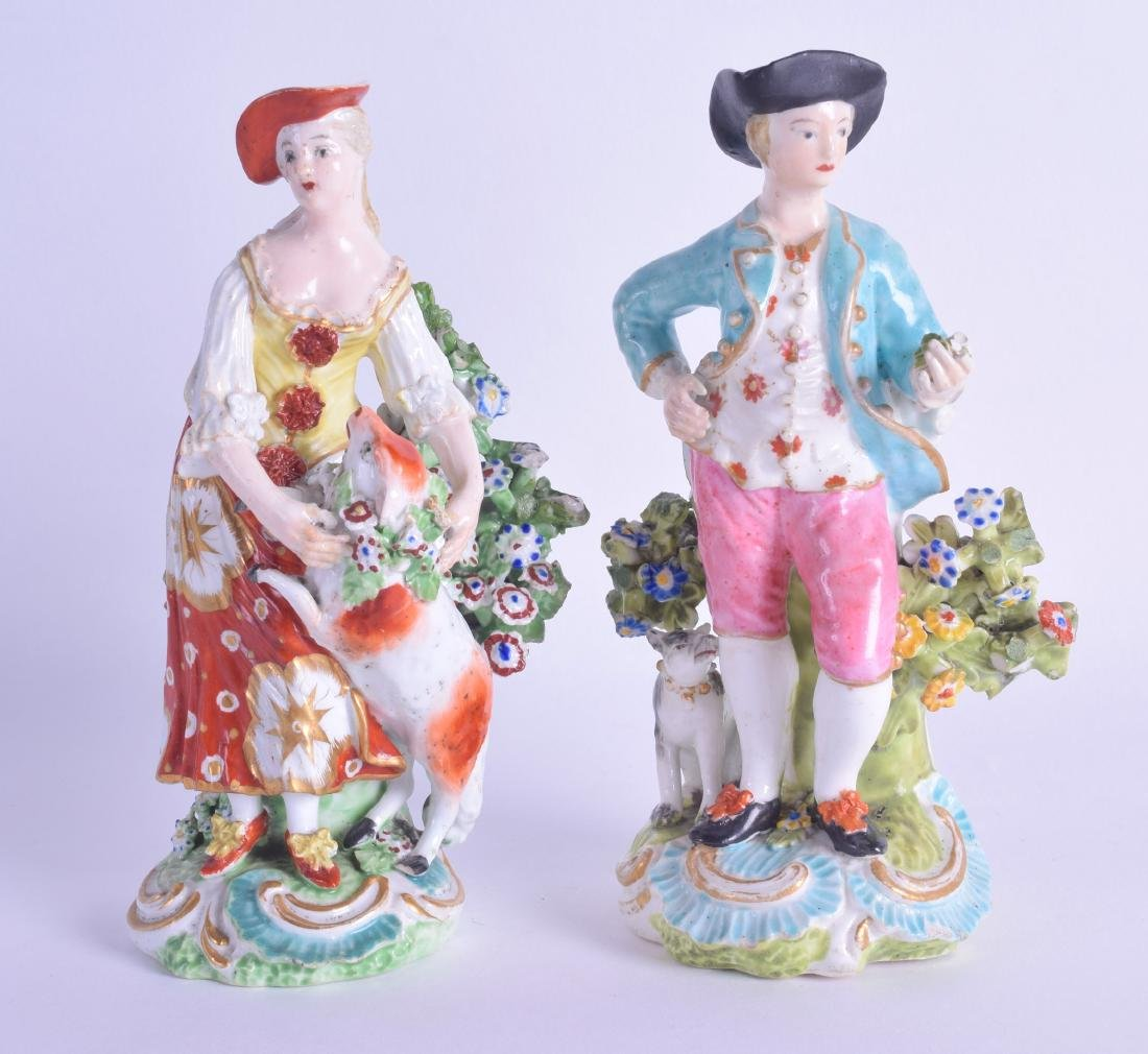 18th c. Derby pair of figure of a gallant and companion
