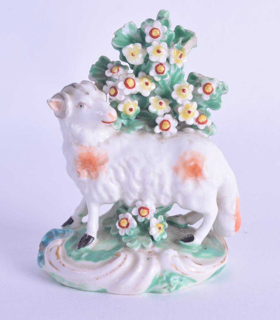 18th c. Derby figure of a standing sheep before a