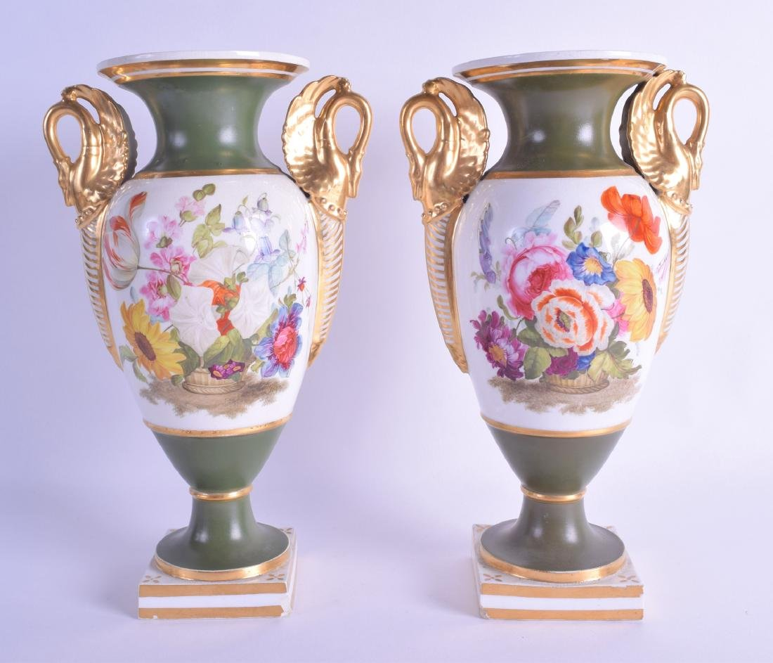 Early 19th c. Derby pair of vases with swan neck
