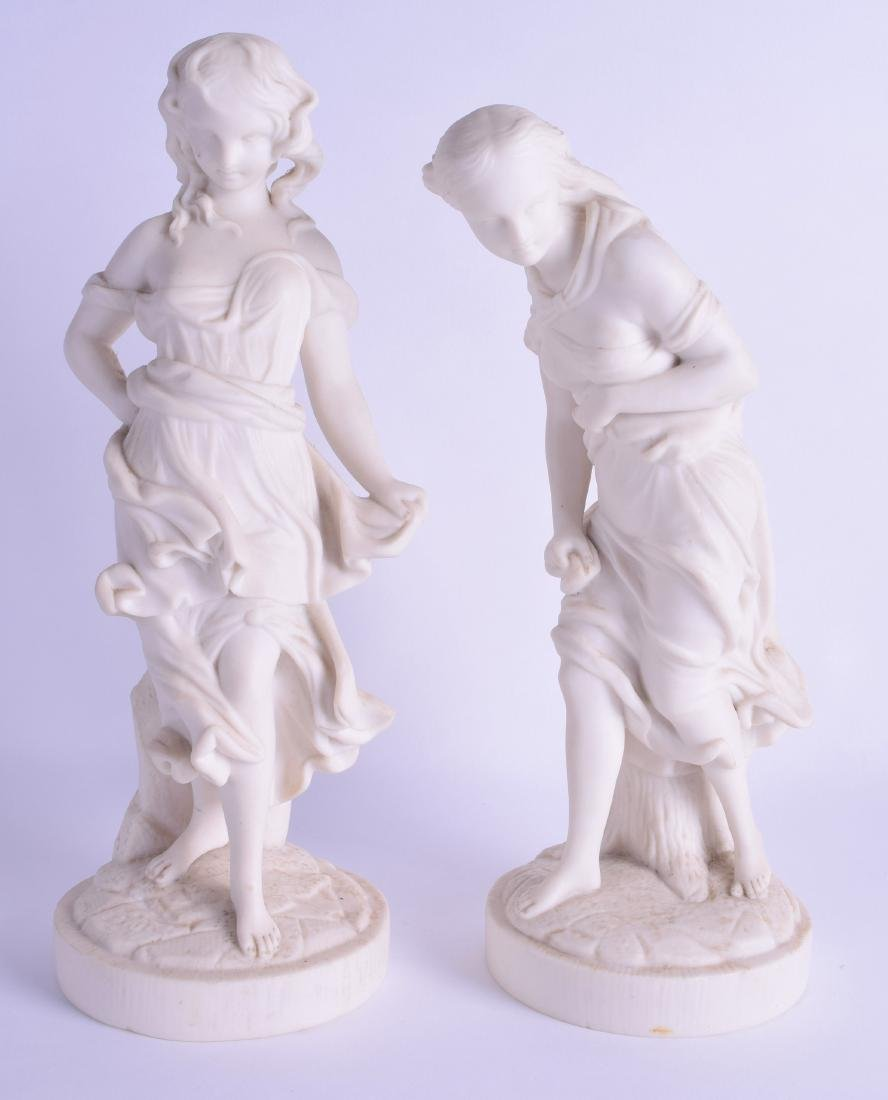 19th c. Royal Worcester fine pair of parian figures of