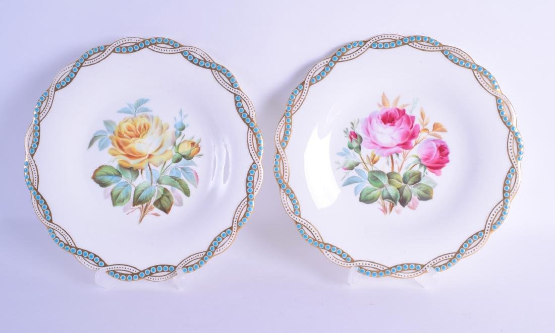 Late 19th c. Minton plate each painted with either