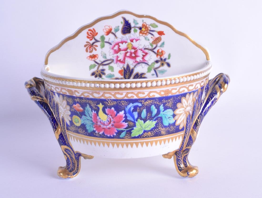 Early 19th c. Spode four footed divided bowl painted