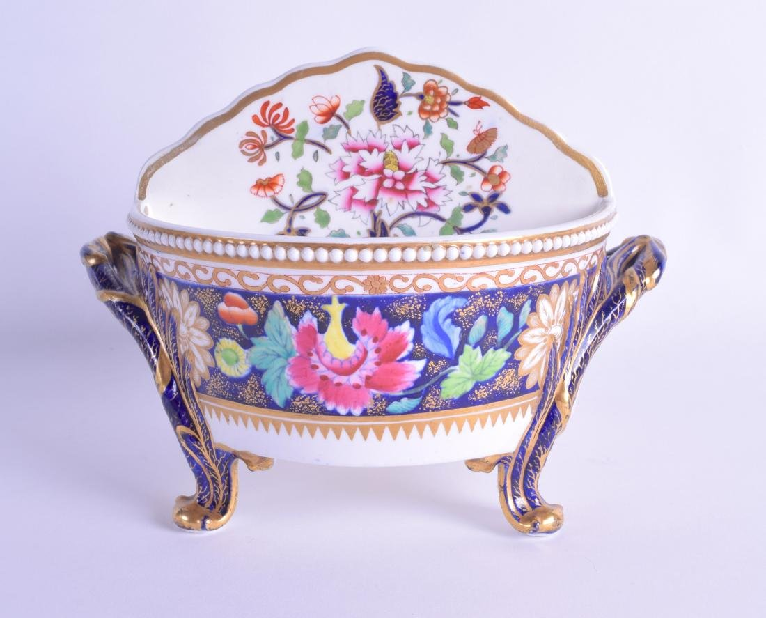 Early 19th c. Spode four footed divided bowl painted - 2