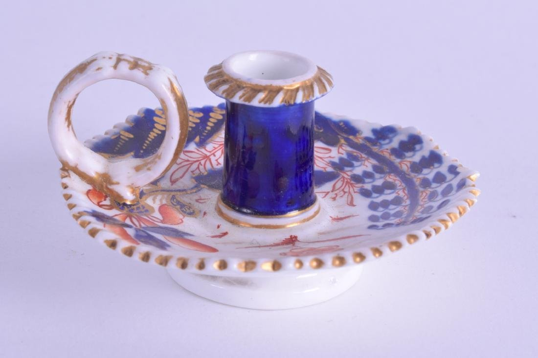 Early 19th c. Spode miniature chamberstick painted in