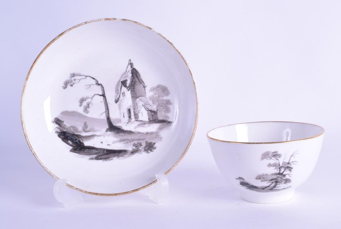 19th c. Minton teabowl and saucer painted en-grisaille