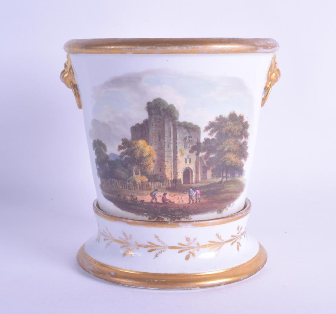 19th c. Herculaneum cache pot and stand painted with