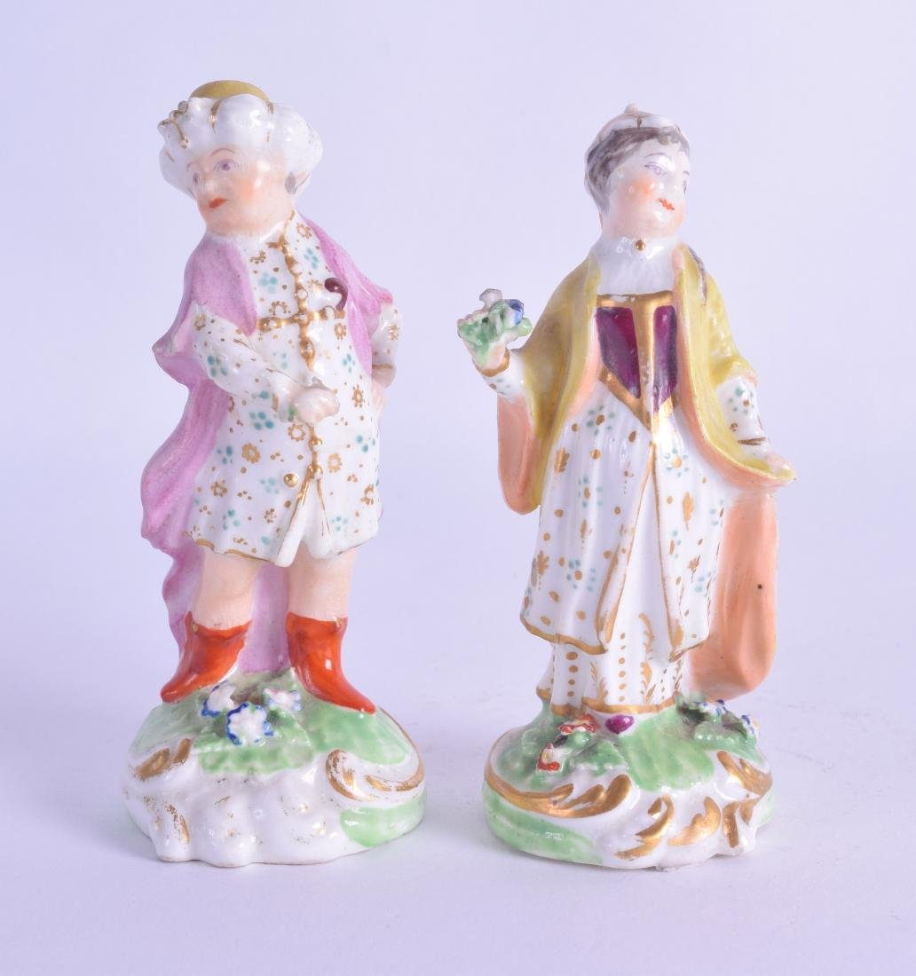 18th c. Derby pair of small figure of a Turk and