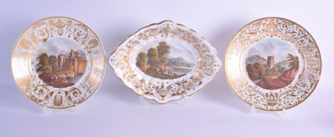 19th c. Derby oval dish painted with a titled landscape
