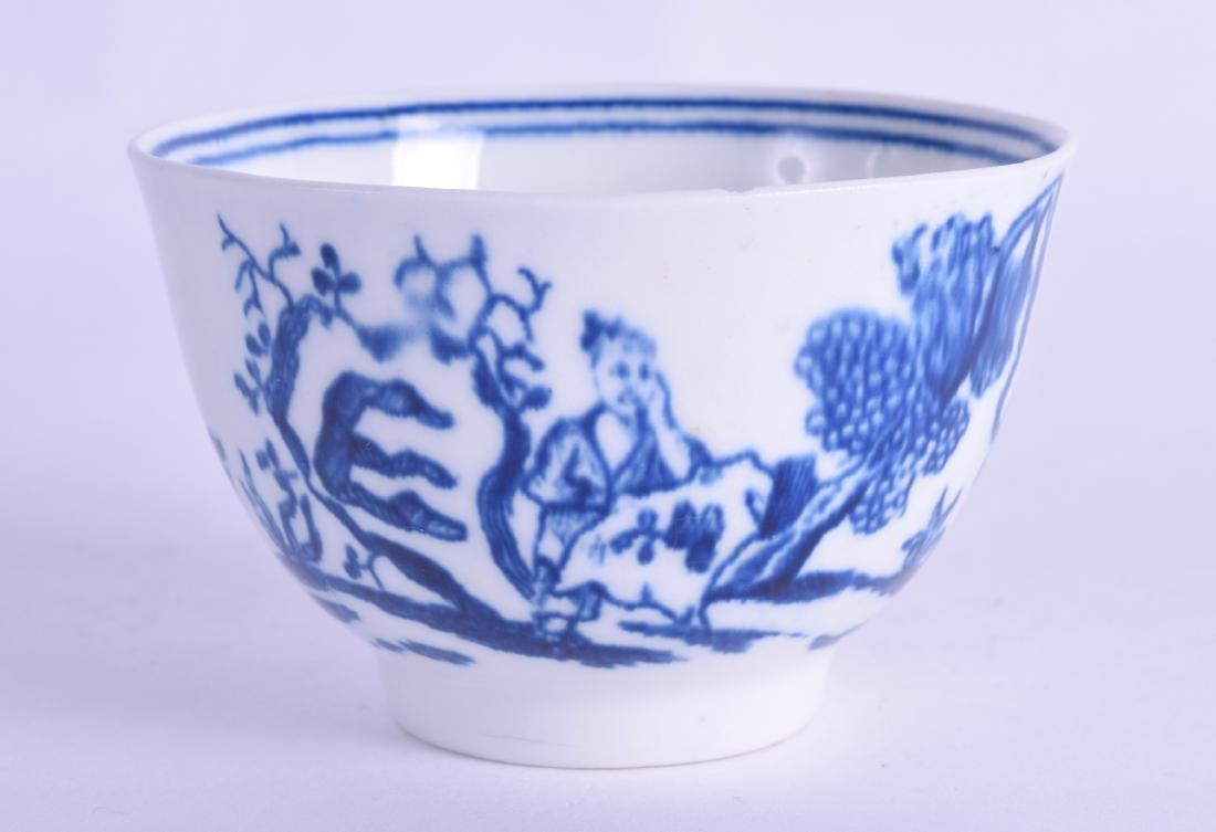 18th c. unusual teabowl printed with three oriental