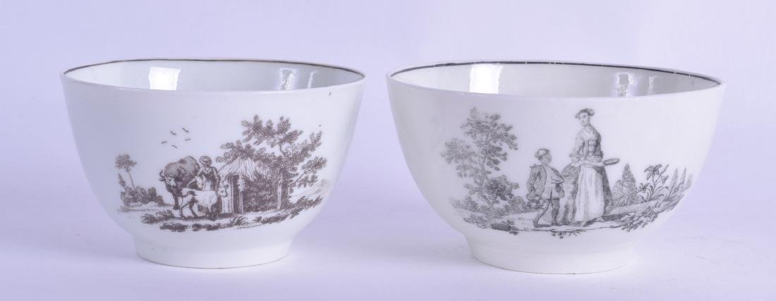 18th c. Worcester teabowl by Robert Hancock, one with