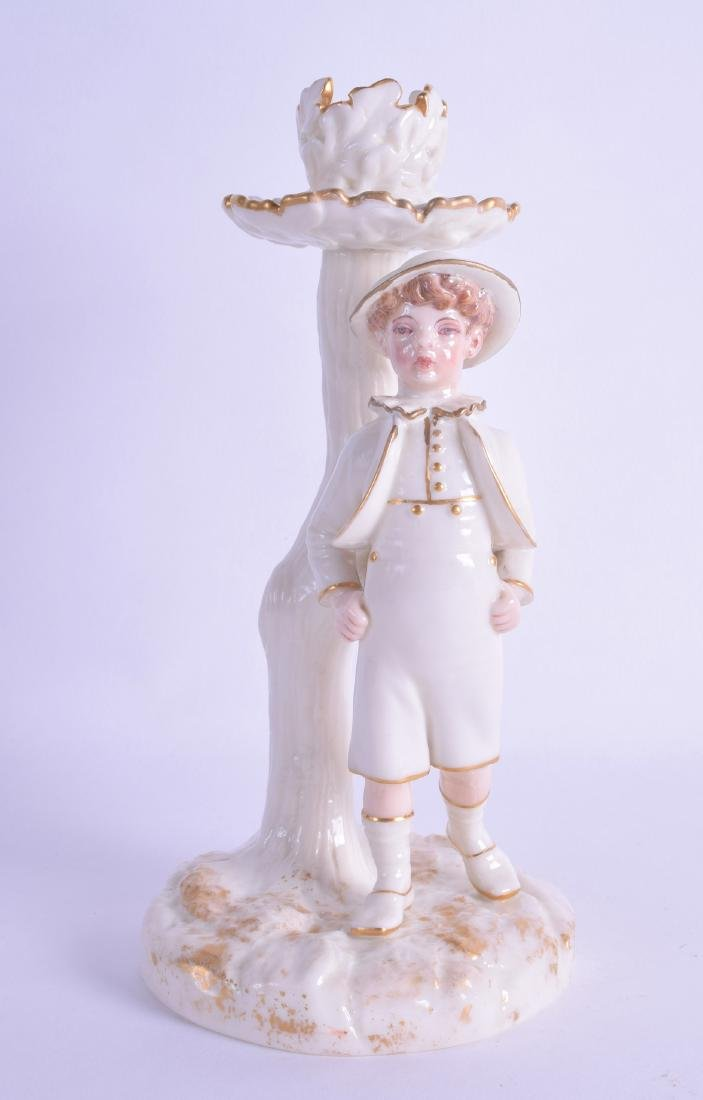 Royal Worcester Hadley style candlestick figure of a