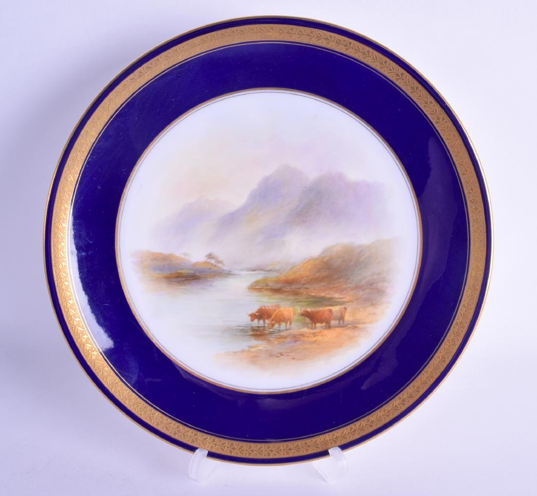 Royal Worcester plate painted with cattle in a loch